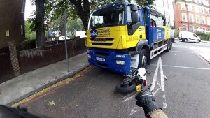 Lucky lorry escape for London biker