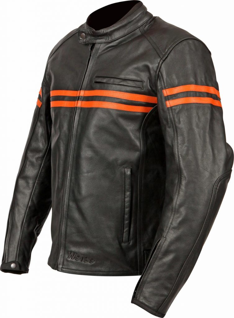 2017 Weise Brunel Leather Motorcycle Jacket Front Orange