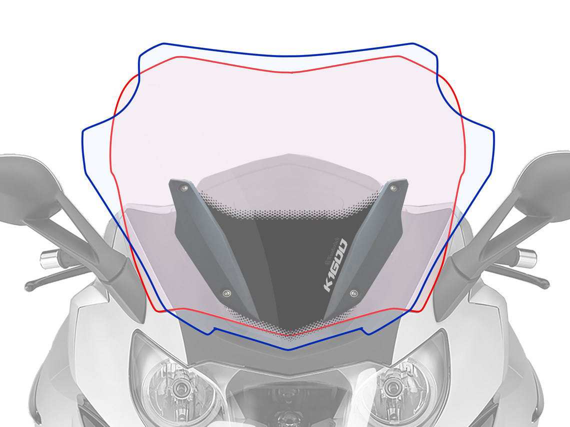 Larger Wunderlich Ergo Screen for the BMW K1600 Bagger Diagram
