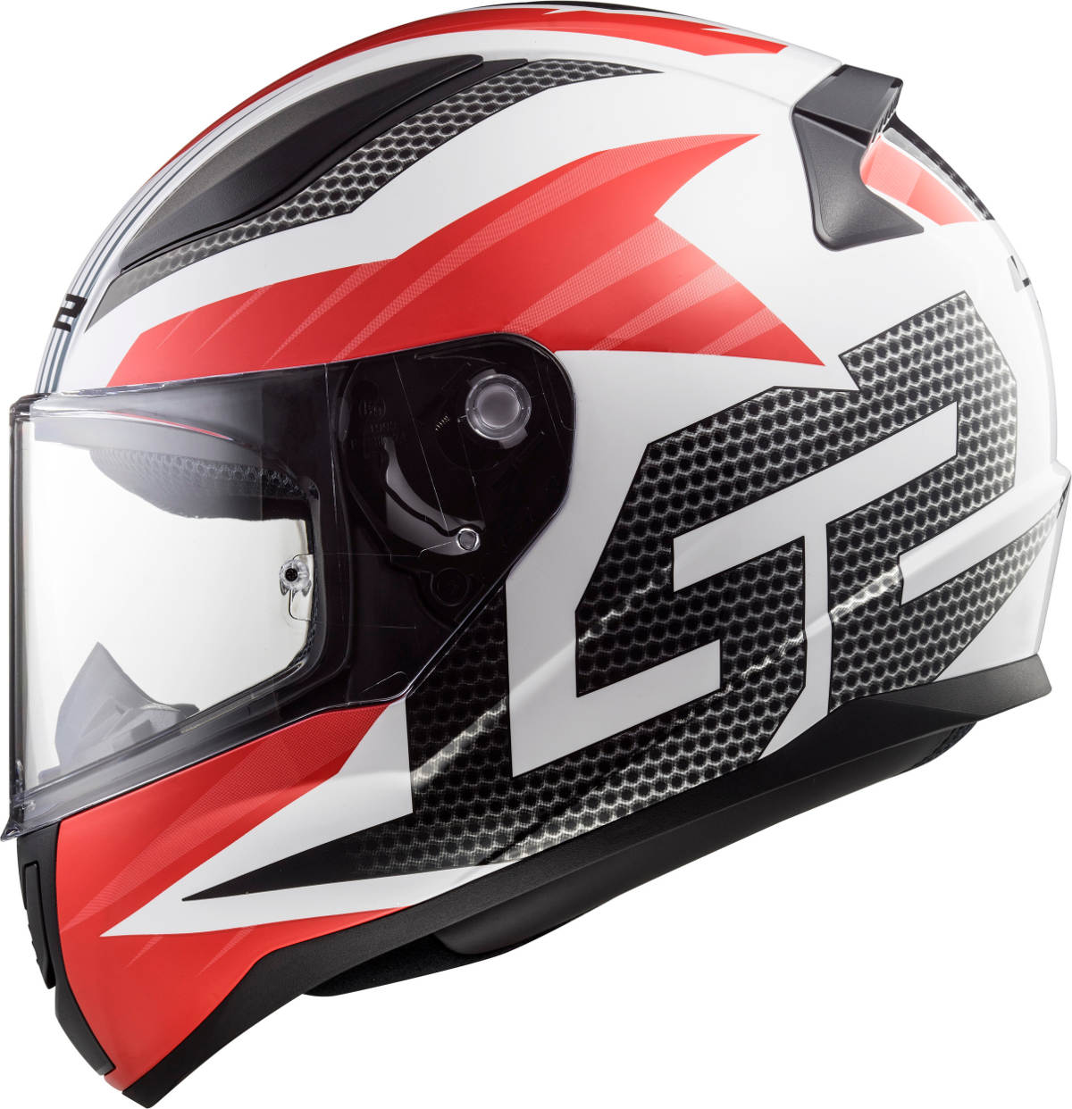 LS2 Rapid Motorcycle Helmet Grid Design - White and Red