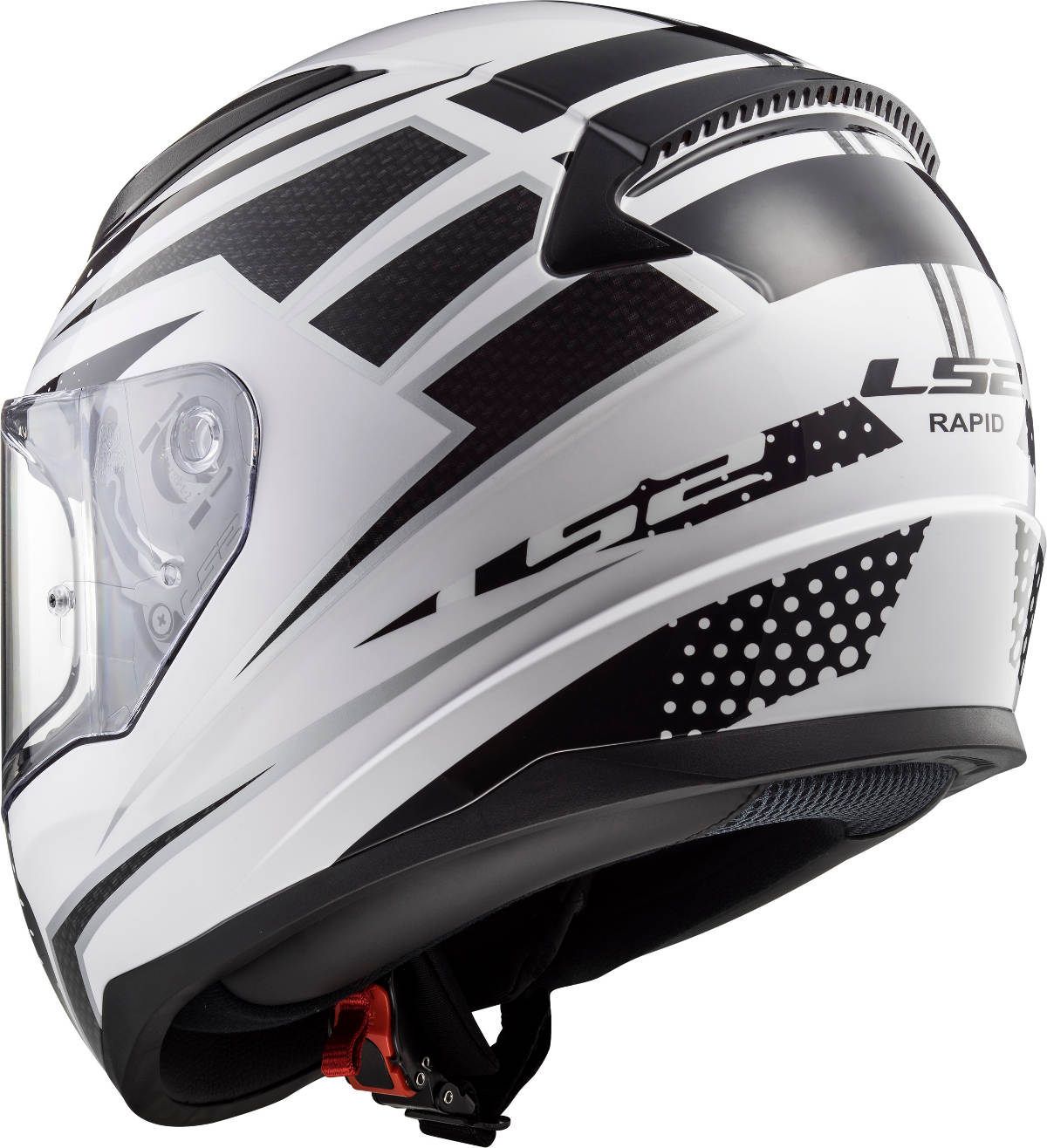 LS2 Rapid Motorcycle Helmet Black White Rear 3Q