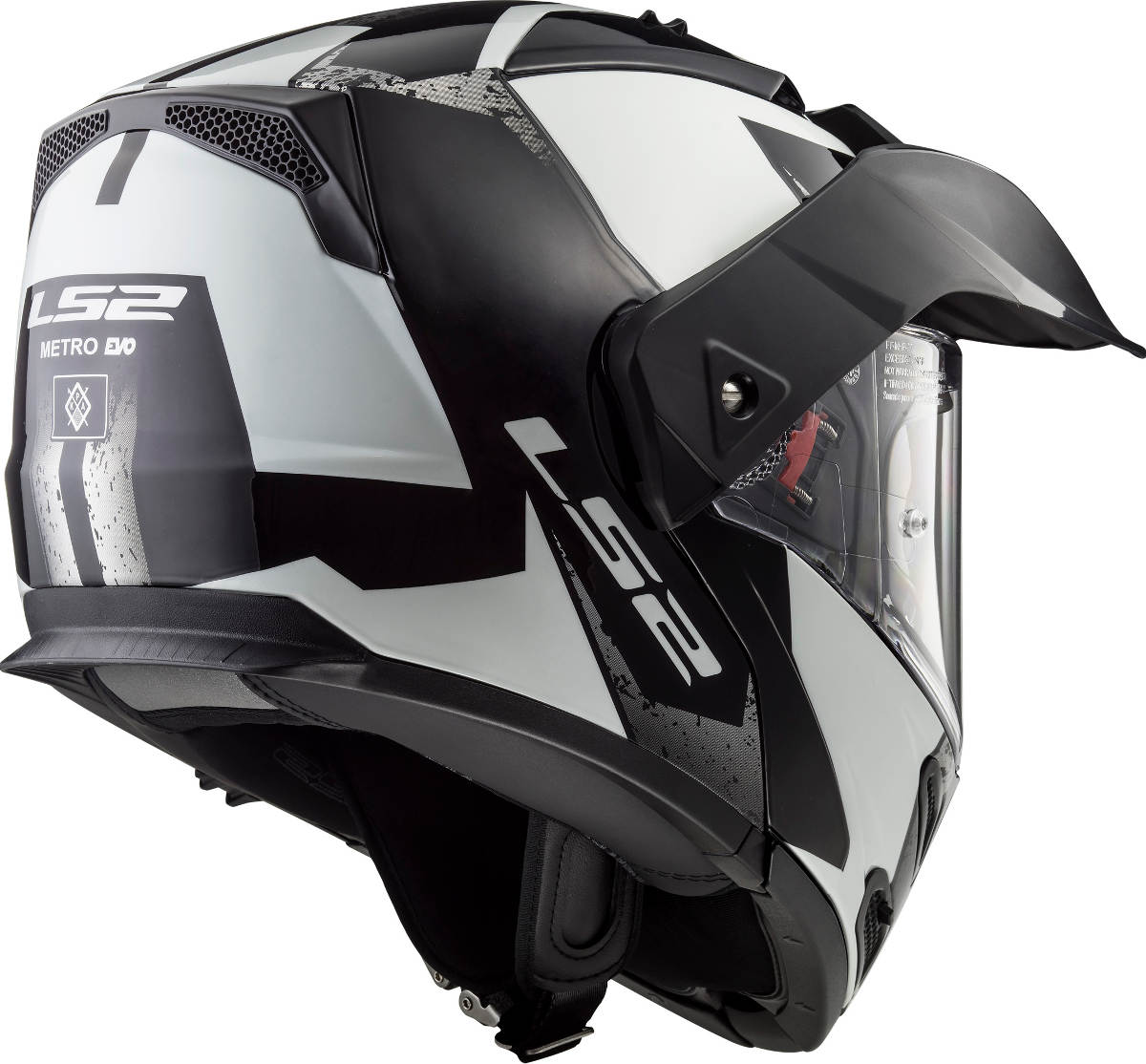 LS2 Metro Evo Helmet Sub White and Black Rear