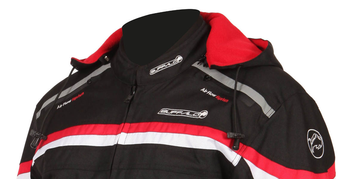 Buffalo Rebel Motorcycle Jacket With Detachable Hood Close Up