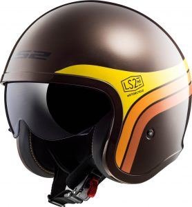 LS2 Spitfire Open Face Motorcycle Helmet Sunrise Brown Paint