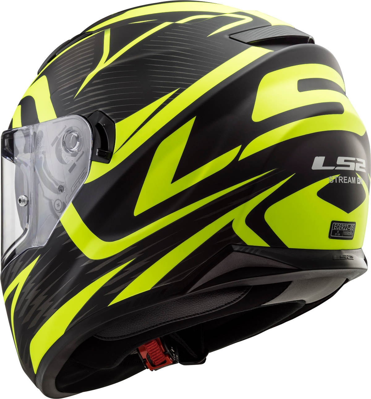 LS2 Stream Evo Helmet Jink Matt Black H-V Yellow Graphics Rear