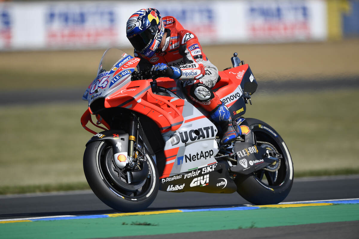Andrea Dovizioso in action at Le Mans for the 2018 French MotoGP