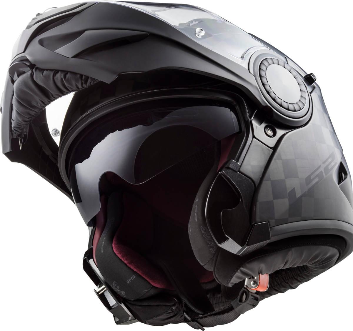 LS2 Vortex Carbon Fibre Modular Motorcycle Helmet Flipped Front Up