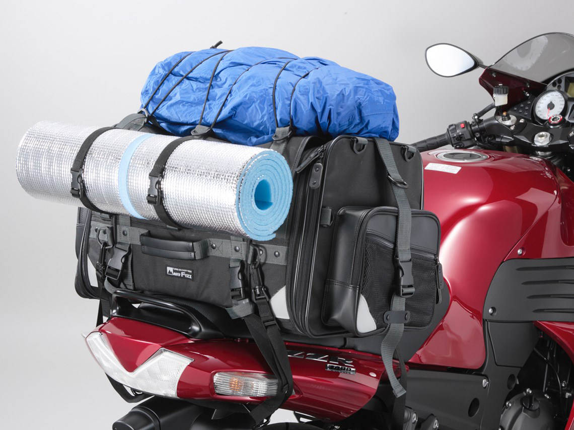 Moto Fizz Camping Seat Bag With Extras Strapped On