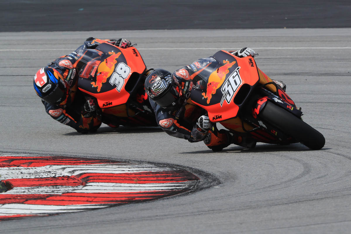 Mika Kallio and Bradley Smith on the KTM RC 16s at Sepang 2018