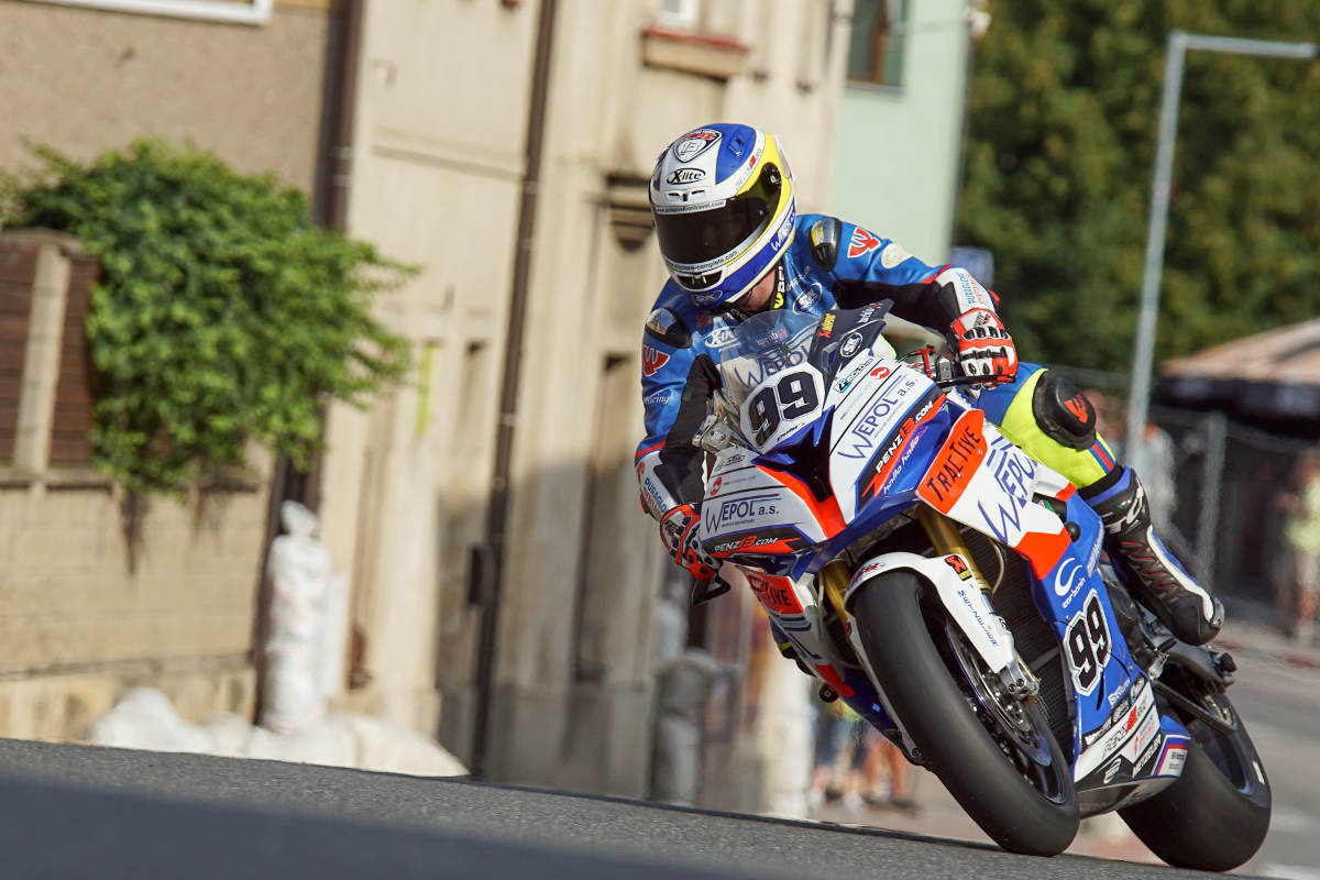 Danny Webb in the International Road Racing Championship on a BMW S100RR at Horice in the Czech Republic