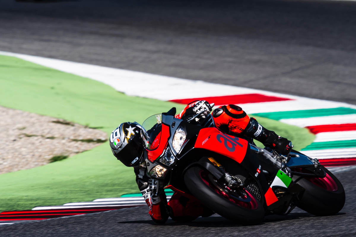 Loris Capirossi and Max Biaggi Ride At An Aprilia Track Day - Capirossi Action