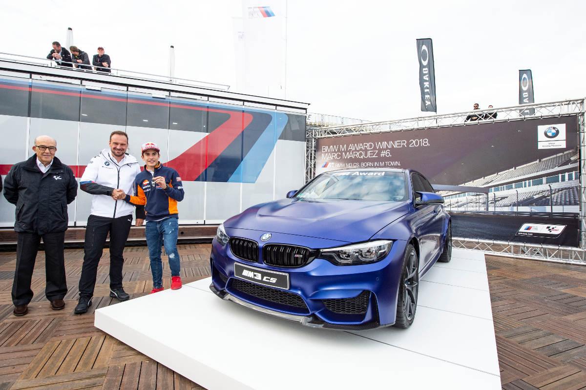 MotoGP champion Marc Marquez, BMW President Markus Flasch and Dorna CEO Carmelo Ezpeleta